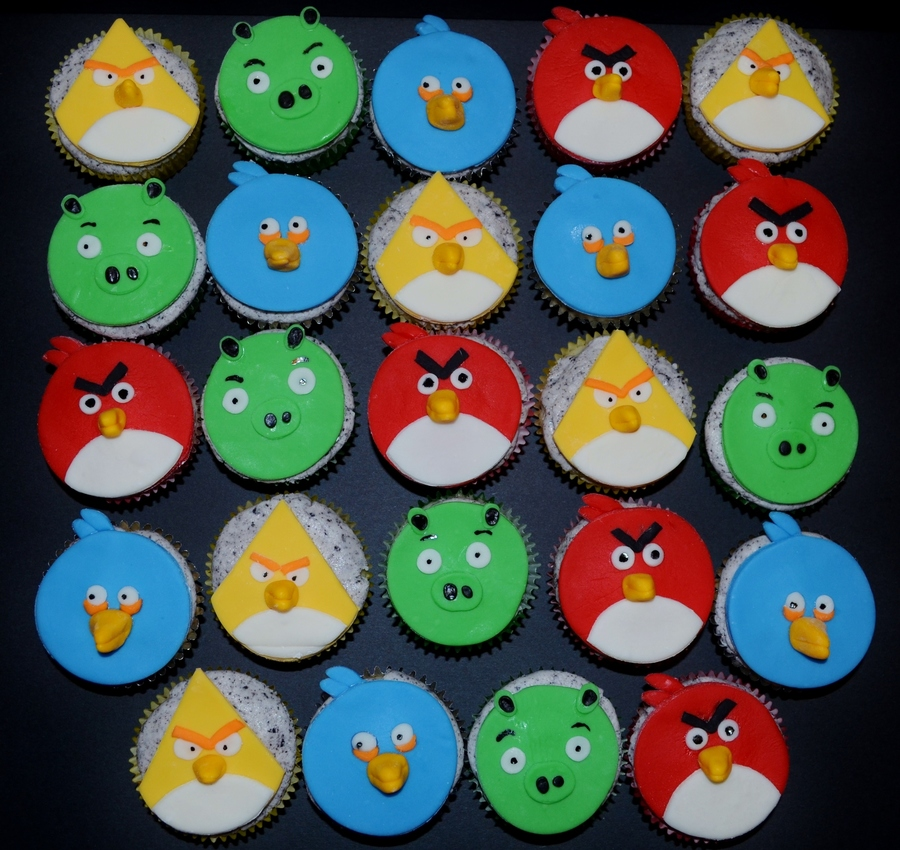 Angry Bird Cupcakes Mmf Toppers on Cake Central