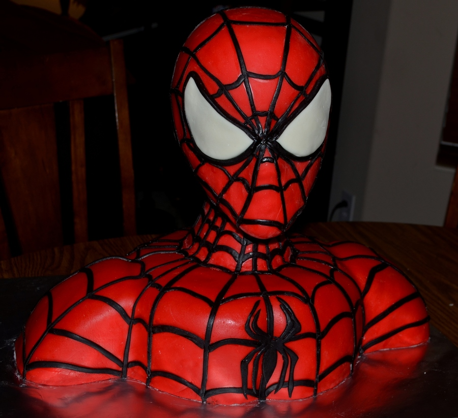 Spiderman Bust Birthday Cake on Cake Central