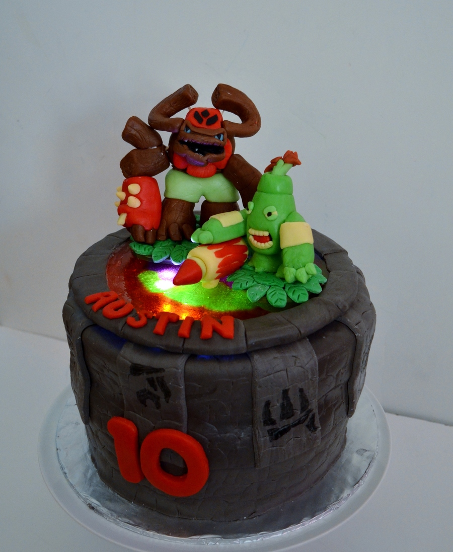 Skylanders Giants Birthday Cake I Used Melted Jolly Ranchers To Create The Light Up Portal With A Small Push Light Underneath Characters on Cake Central