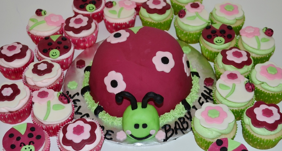 Ladybug Baby Shower Cake Matched Baby Bedding on Cake Central