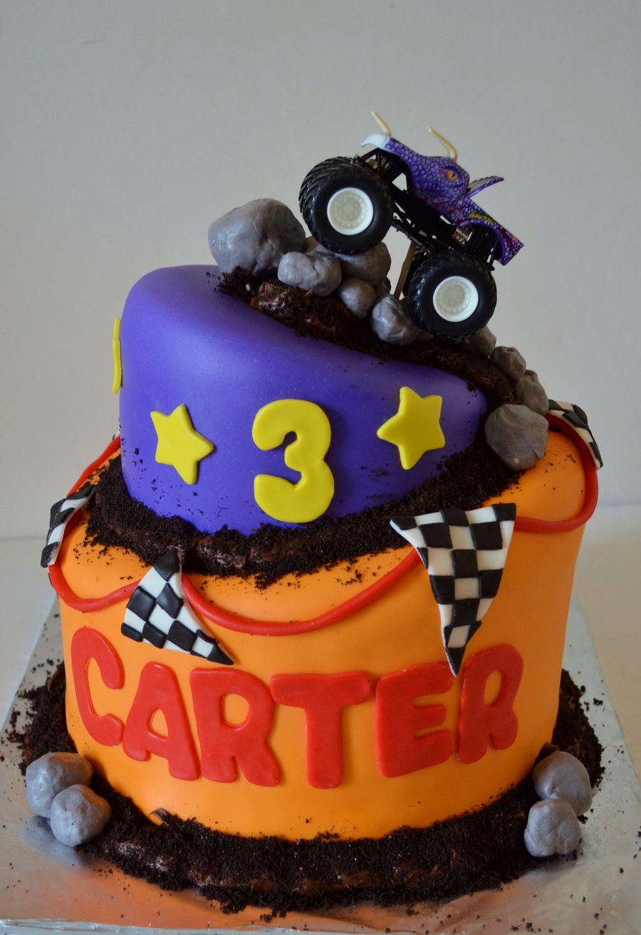Monster Truck Cake In The Birthday Boys Favorite Colors This Was My