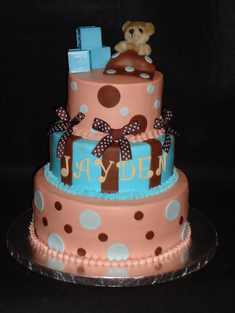 Brown And Blue Baby Shower on Cake Central