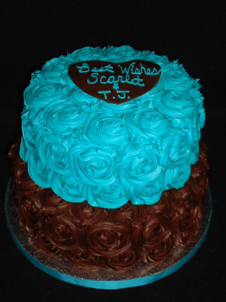 Teal And Chocolate Roses on Cake Central