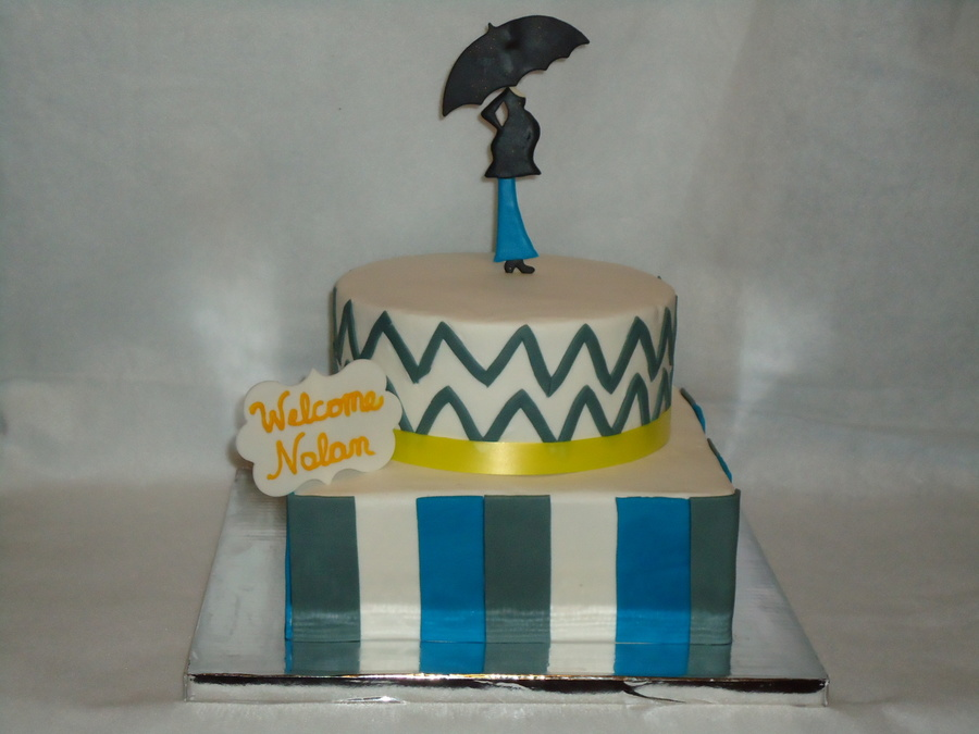 Blue And Gray Baby Shower Cake on Cake Central