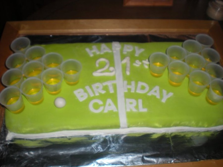 Beer Pong 21St Birthday Cake - CakeCentral.com