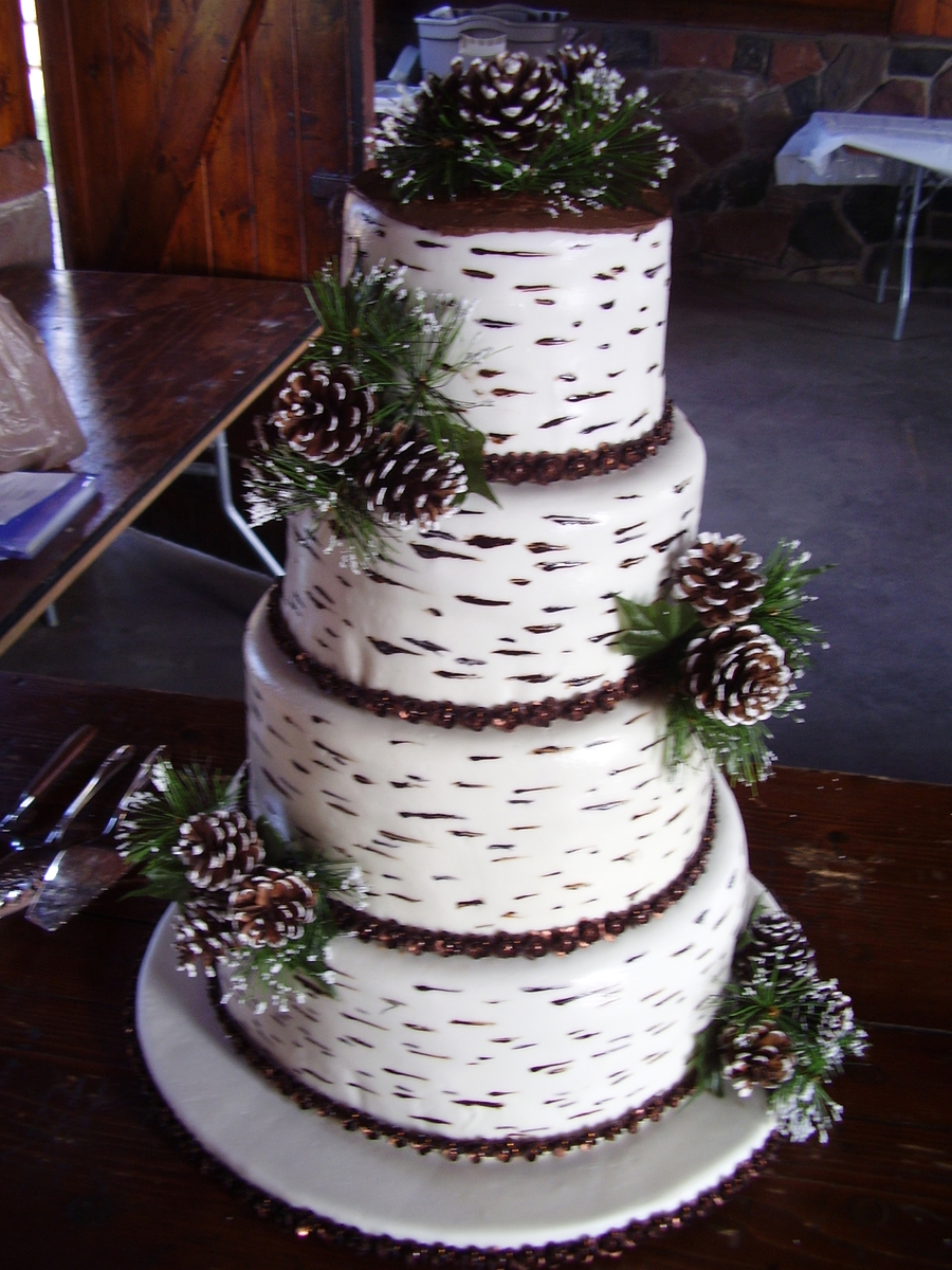 Birch Bark Wedding Cake on Cake Central