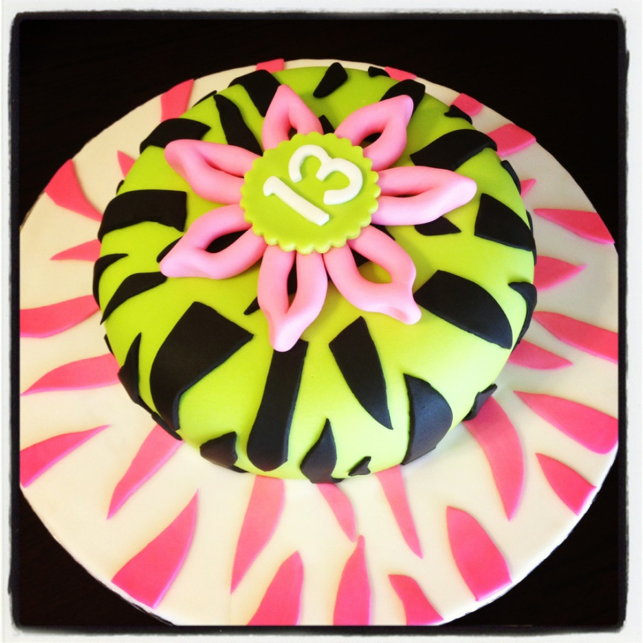 Green And Pink Zebra Stripe Birthday on Cake Central