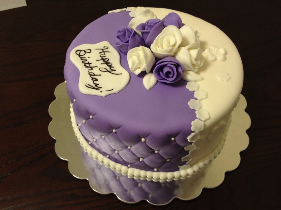 Purple And White Roses Birthday Cake Cakecentral