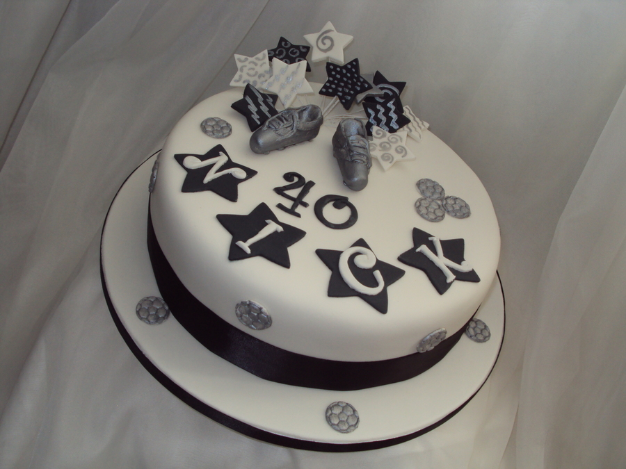 Black White Amp Silver 40th Birthday Cake Cakecentral Com