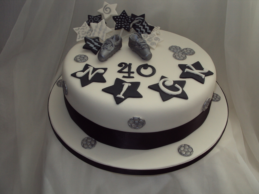 Black, White & Silver 40Th Birthday Cake - CakeCentral.com