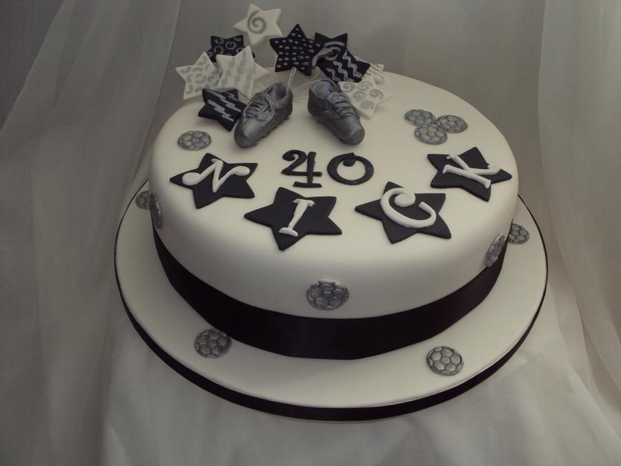 Black, White & Silver 40Th Birthday Cake - CakeCentral.com