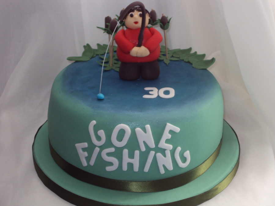 39 gone fishing 39 30th birthday cake for Gone fishing cake