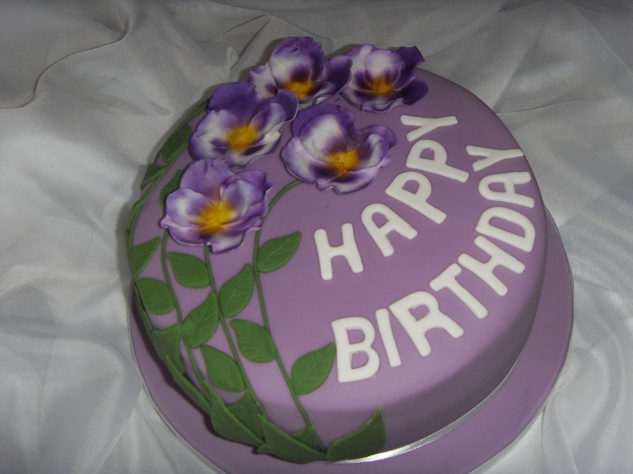 Purple Pansies Birthday Cake on Cake Central