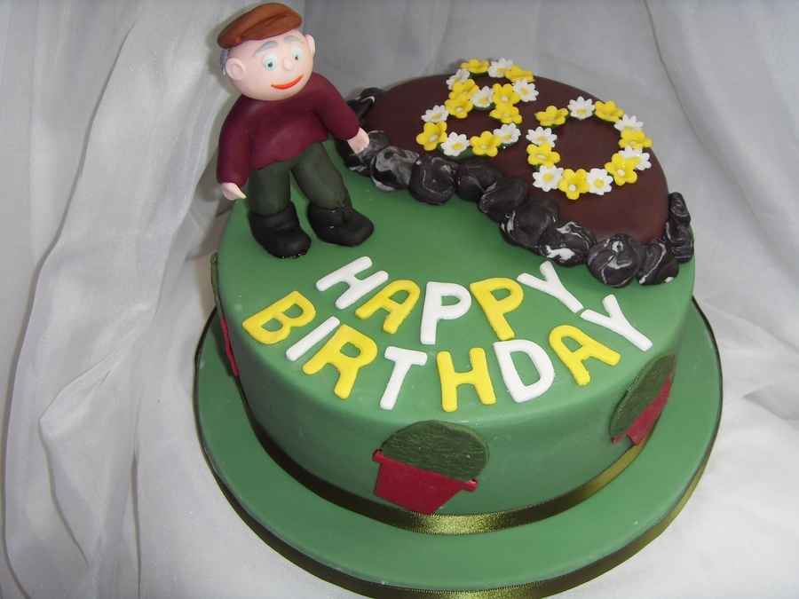Gardening Themed 80Th Birthday Cake on Cake Central