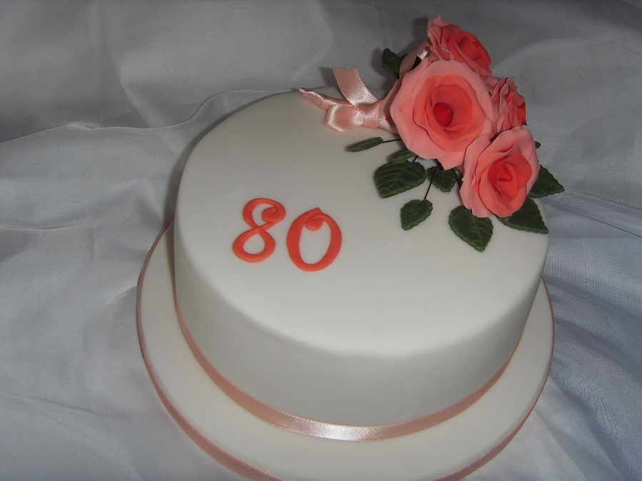 Orange Roses 80Th Birthday Cake on Cake Central