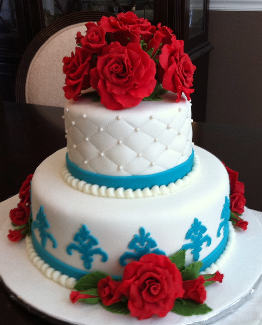 Glamorous Roses And Pearls on Cake Central
