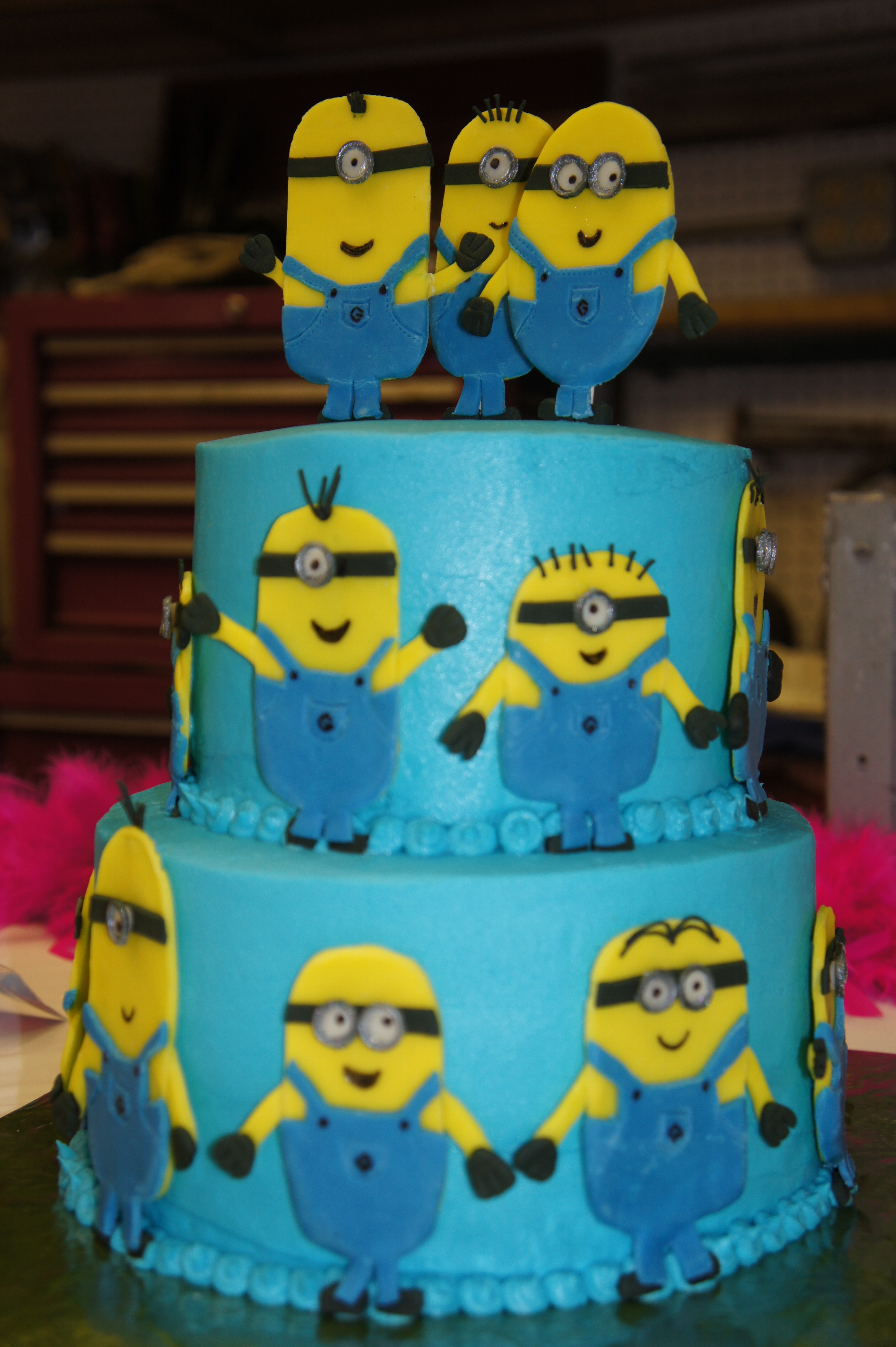 Cake for a minion lover strawberry cake covered in buttercream all the minions are modelling - Cake decorations minions ...