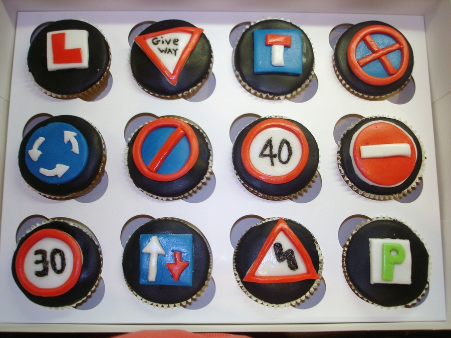 Driving Road Signs Cupcakes.  on Cake Central
