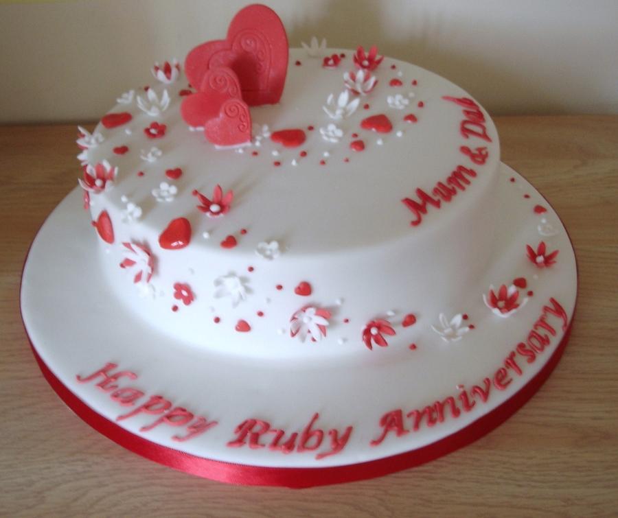Ruby Wedding Anniversary Cake Cakecentral Com