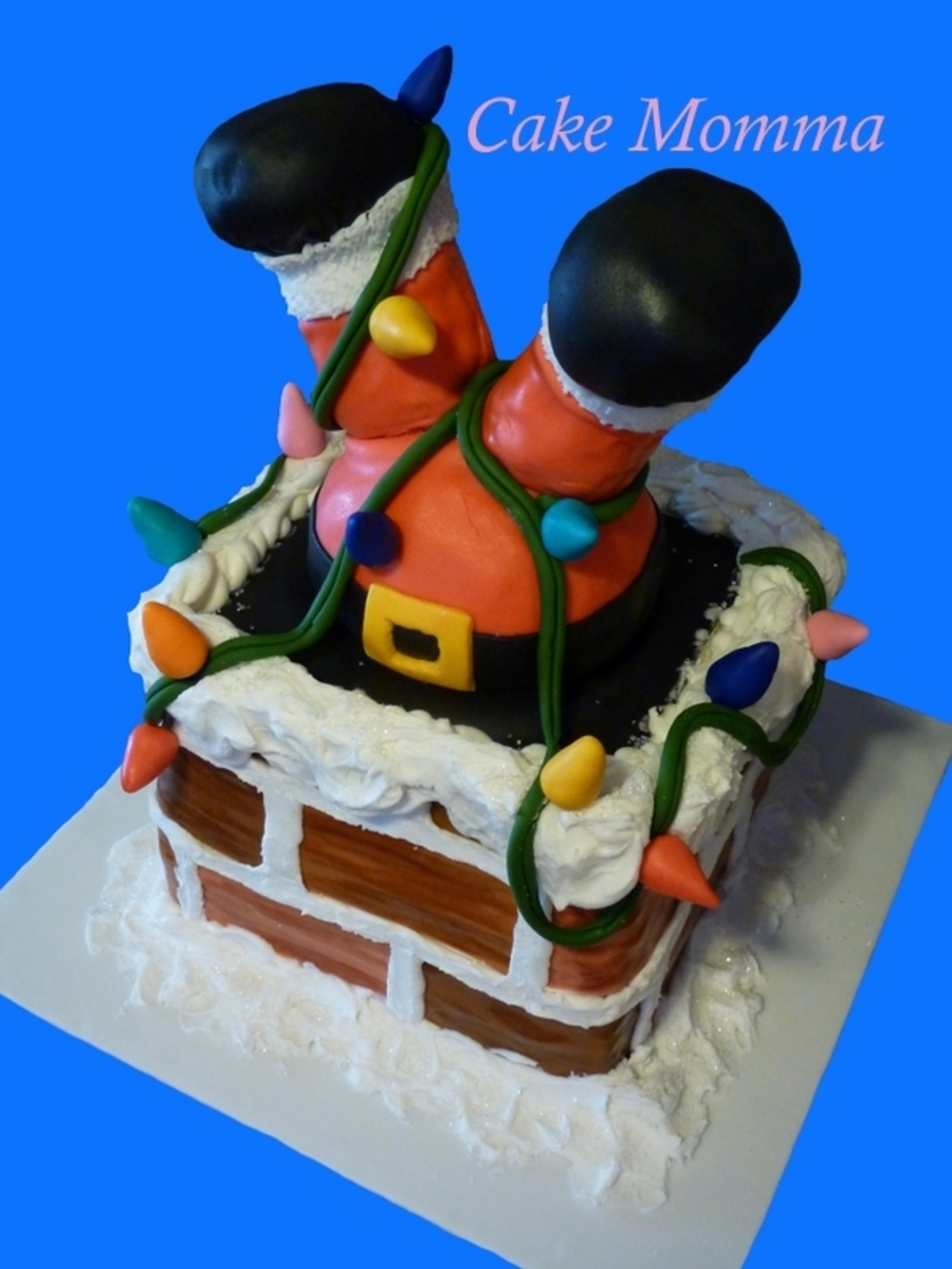 Help! Santa Is Stuck In The Chimney!  on Cake Central