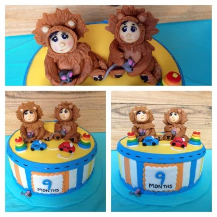 9 Month Birtday Cake For Twin Boys  on Cake Central
