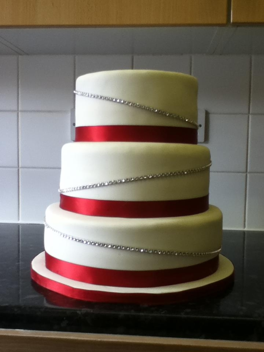 Ivory And Claret With Diamante Band on Cake Central