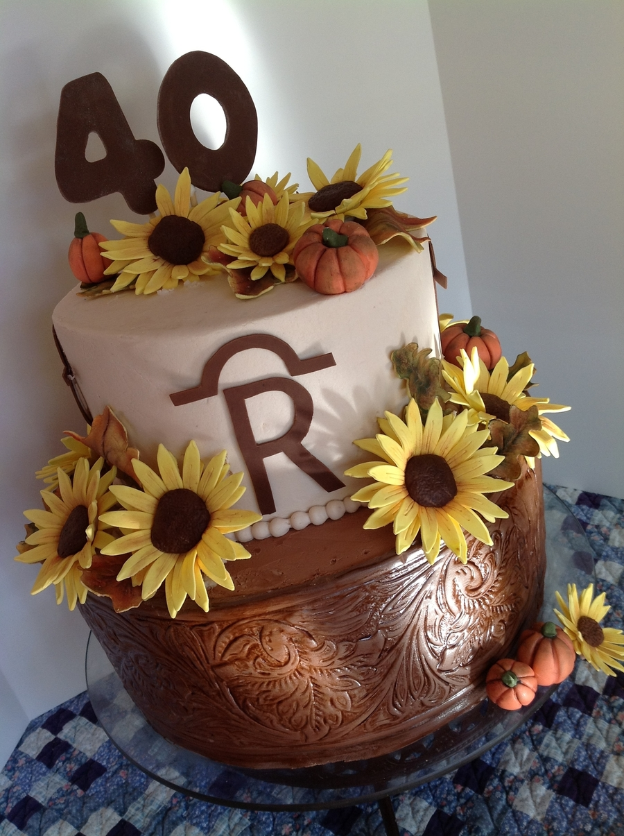 Tooled Leather And Sunflowers on Cake Central