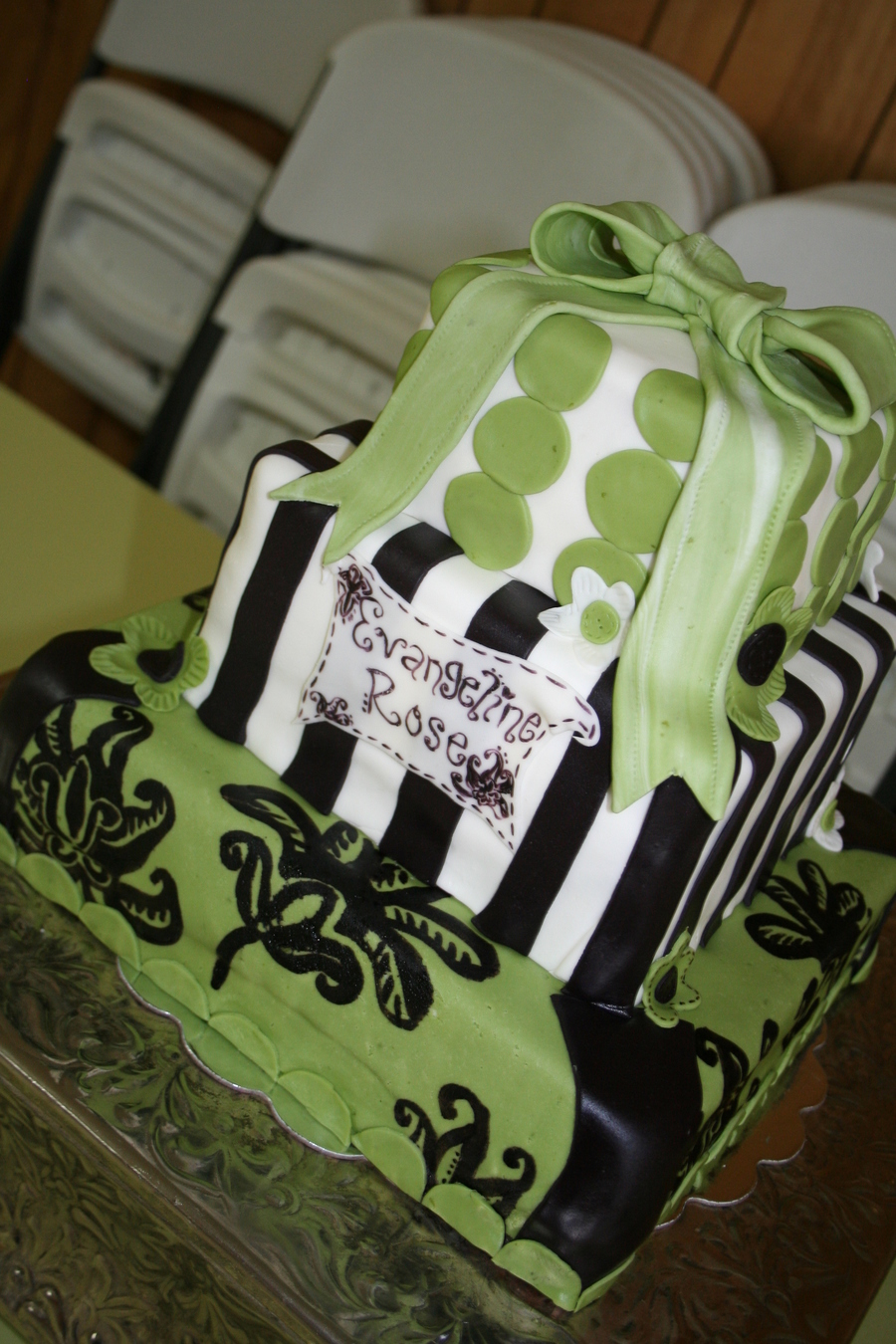 Green And Black Damask Baby Shower on Cake Central