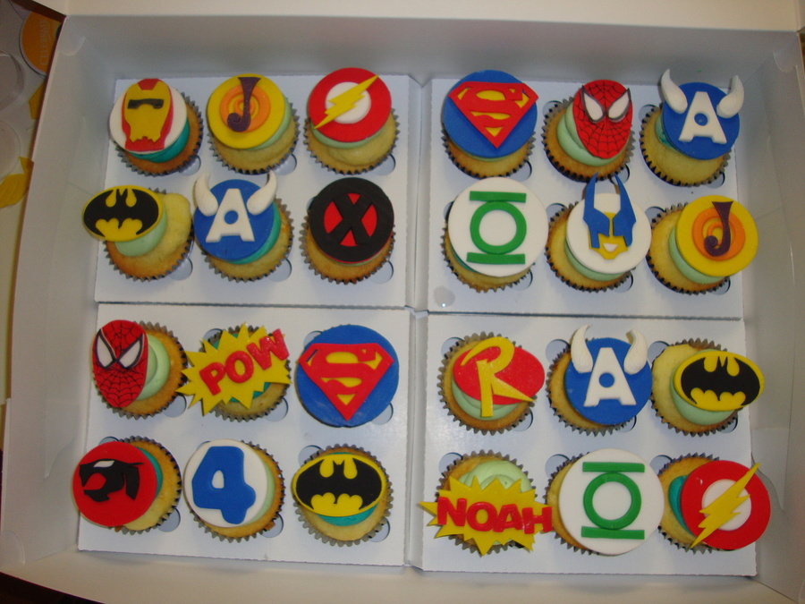 Superhero Cupcakes All Handcut From Fondant on Cake Central