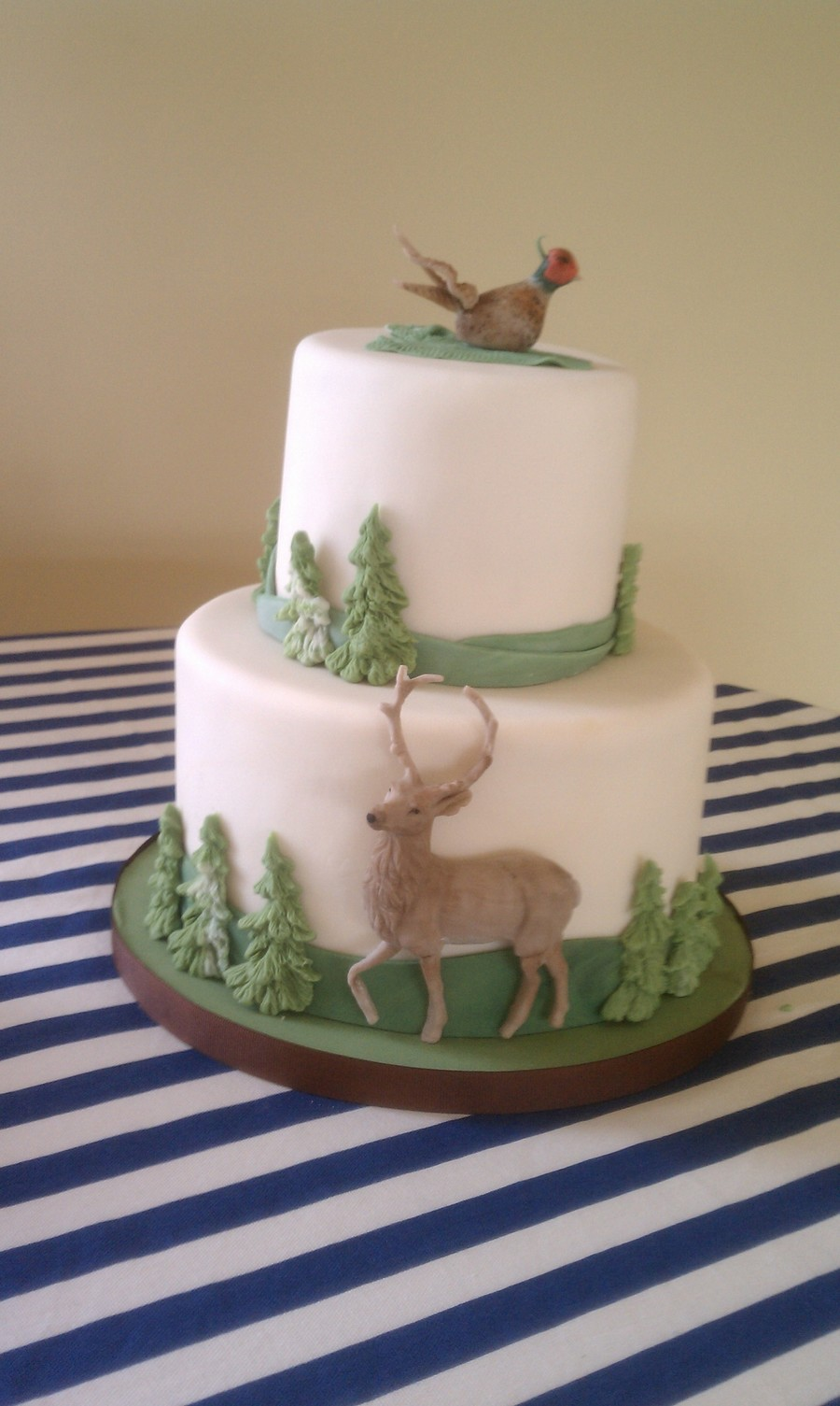 Outdoorsy Cake With Pheasant Deer And Tree Accents on Cake Central