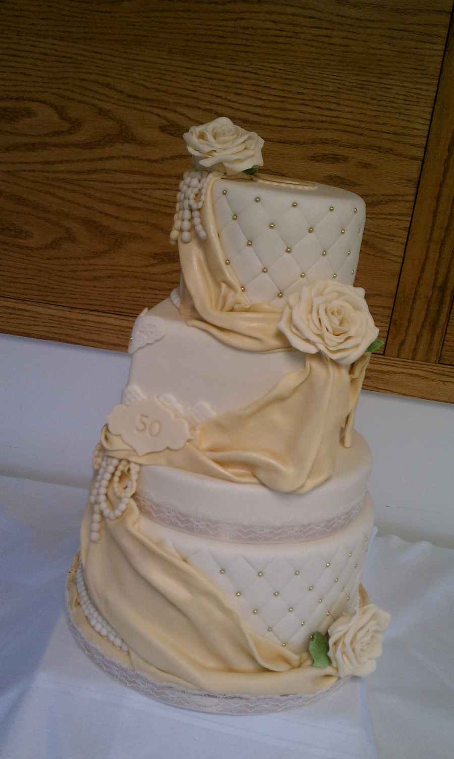 Ivory And Gold Mixed Tiered Cake  on Cake Central