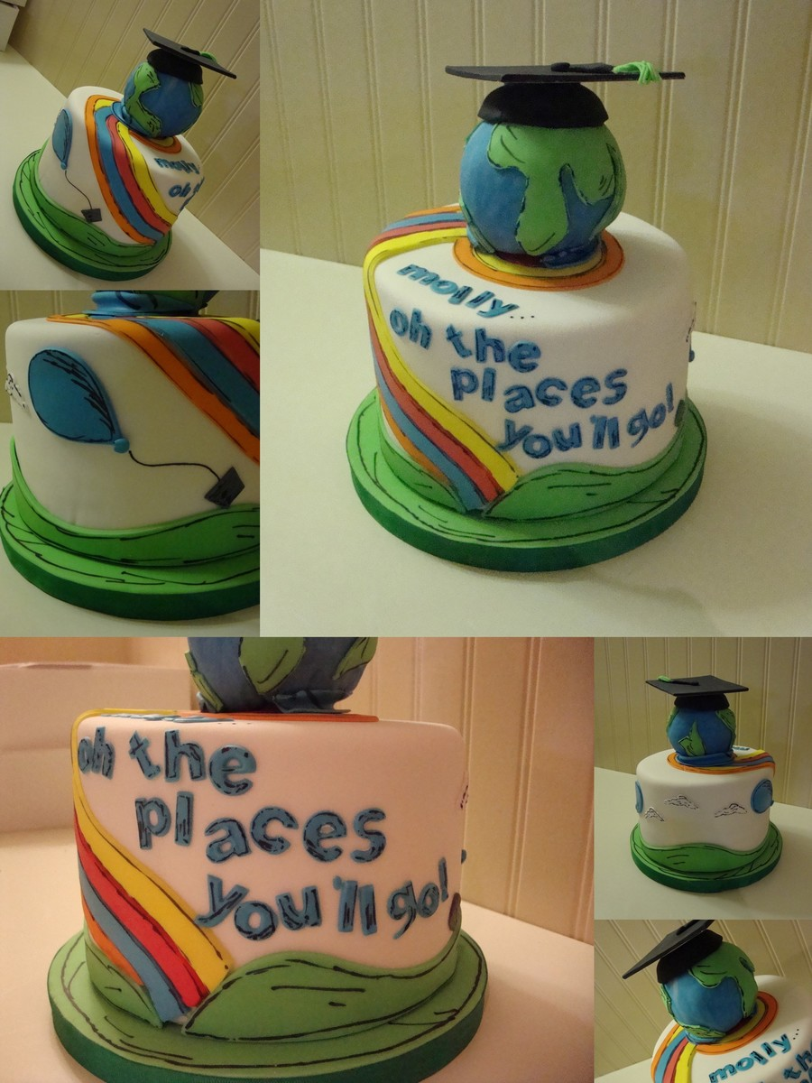 Oh The Places Youll Go Graduation Cake on Cake Central