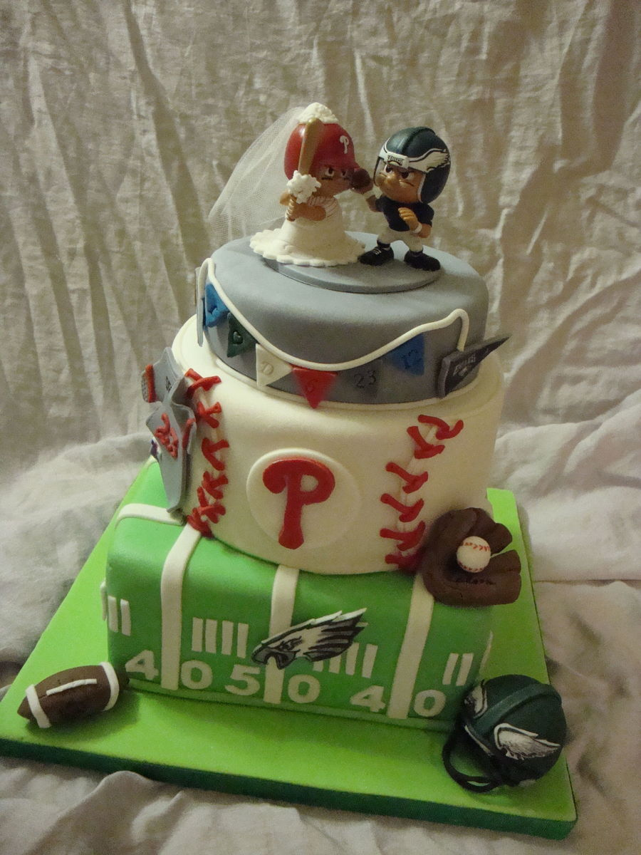 Phillies And Eagles Grooms Cake on Cake Central