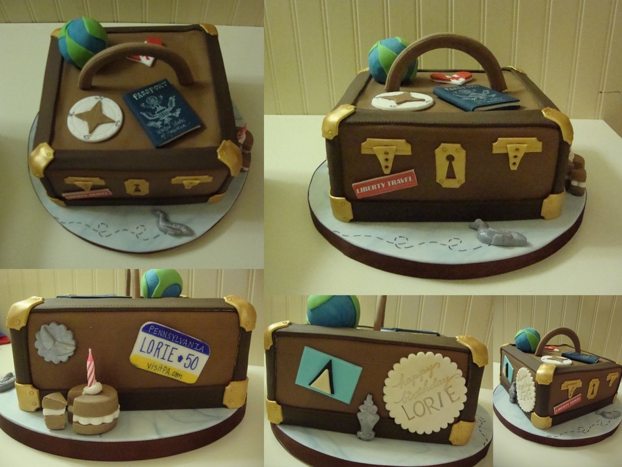 Vintage Traveling Suitcase For A Travel Agents Birthday on Cake Central
