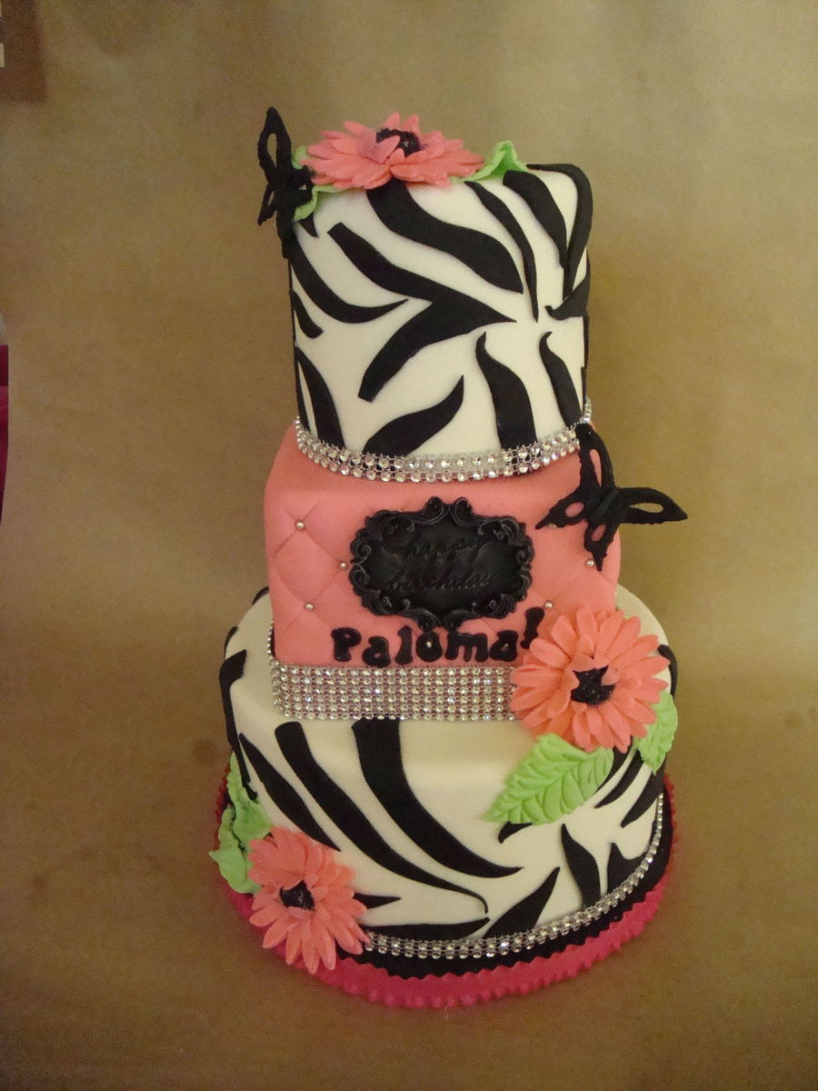 Zebra Stripes Gerber Daisies And Rhinestone Bling Borders on Cake Central