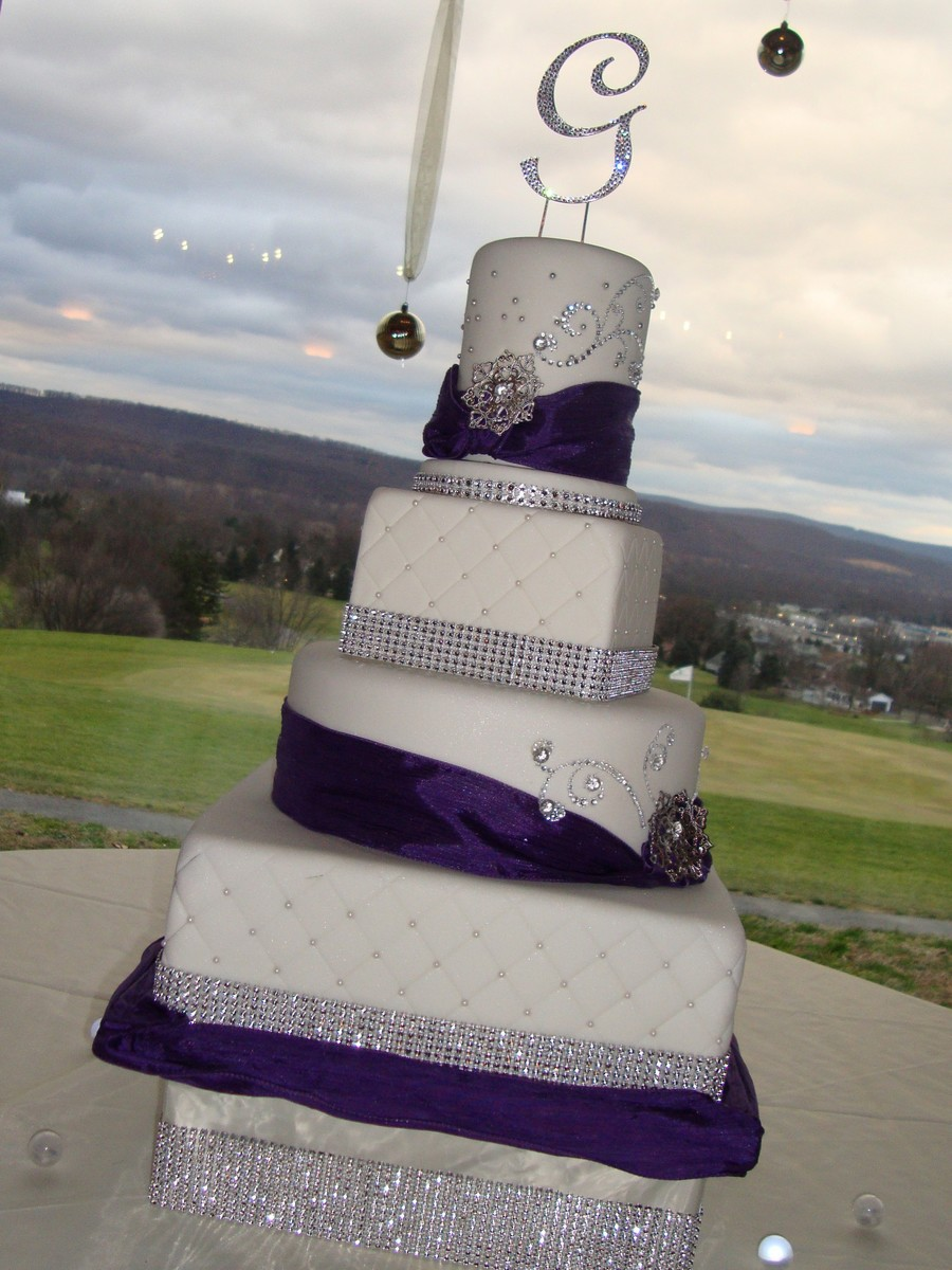 Winter Wedding With Rhinestone Accents on Cake Central