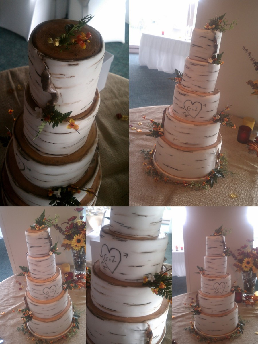 Birch Bark Wedding Cake With Sugarpaste Leaf And Bud Accents on Cake Central