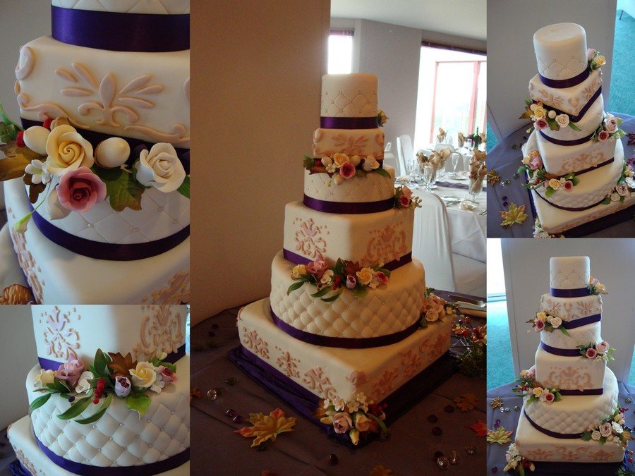 Round And Square Wedding Cake With Damask Cutouts And Sugarpaste Flower Accents on Cake Central
