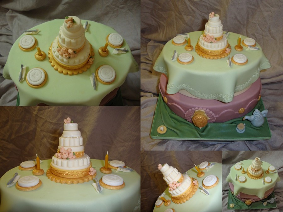 Table Setting With 6 Tiered Cake For A Tea Party Birthday on Cake Central
