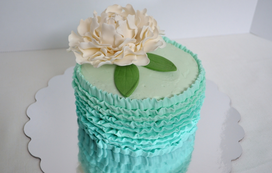 Teal Ombre With Life Sized Peony on Cake Central