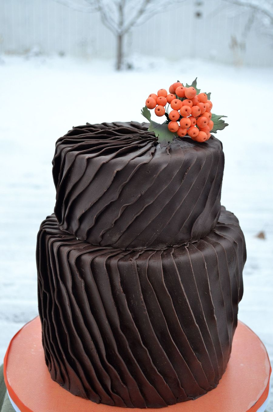 Chocolate Ruffled Pleats  on Cake Central