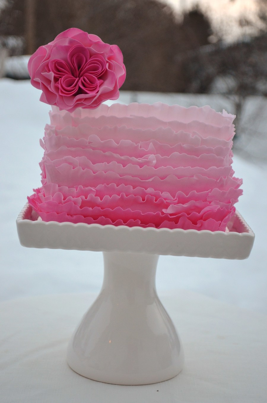 Pretty In Pink - Cabbage Rose And Ruffles on Cake Central