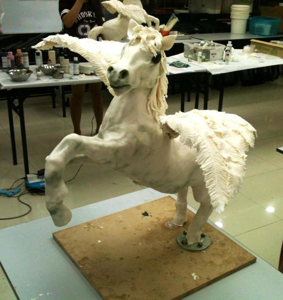 3d Sculpted Pegasus With Pound Cake Modeling Chocolate And