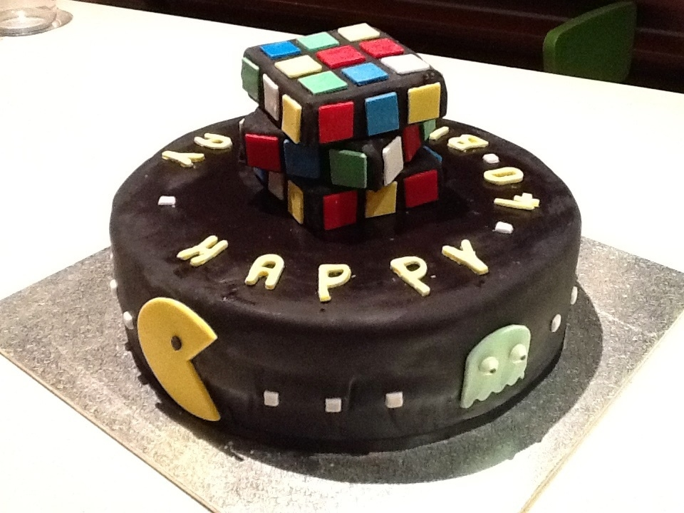 80S Pacman Rubiks Cube Cake on Cake Central