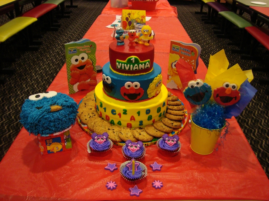 Sesame Street Elmo Big Bird  Cookie Monster Birthday Cake - Elmo and abby birthday cake
