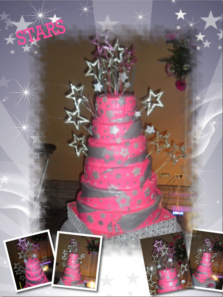 Hot Pink Stars Cake  on Cake Central