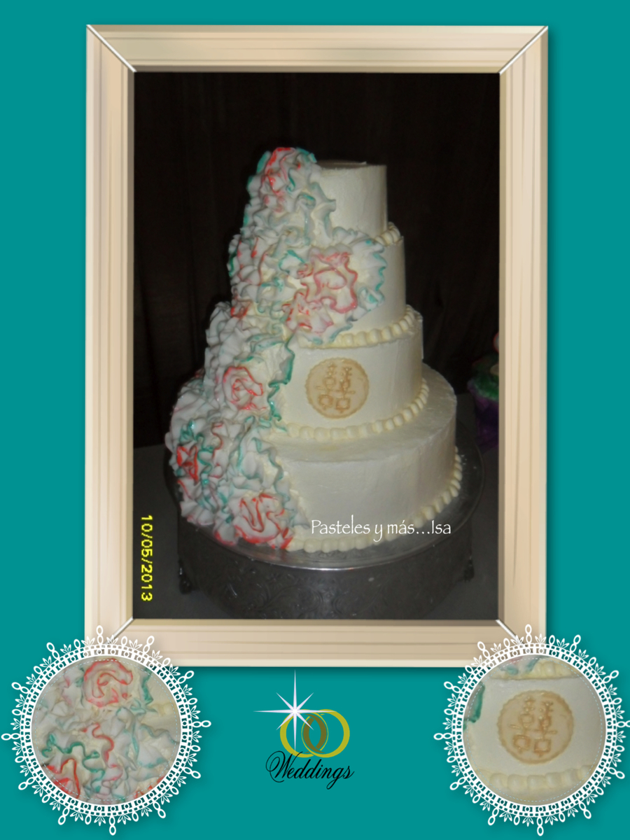 Ruffles Teal & Salmon Wedding Cake on Cake Central