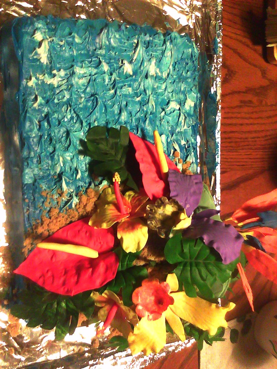 Hawaiian Flower Birthday Cake on Cake Central