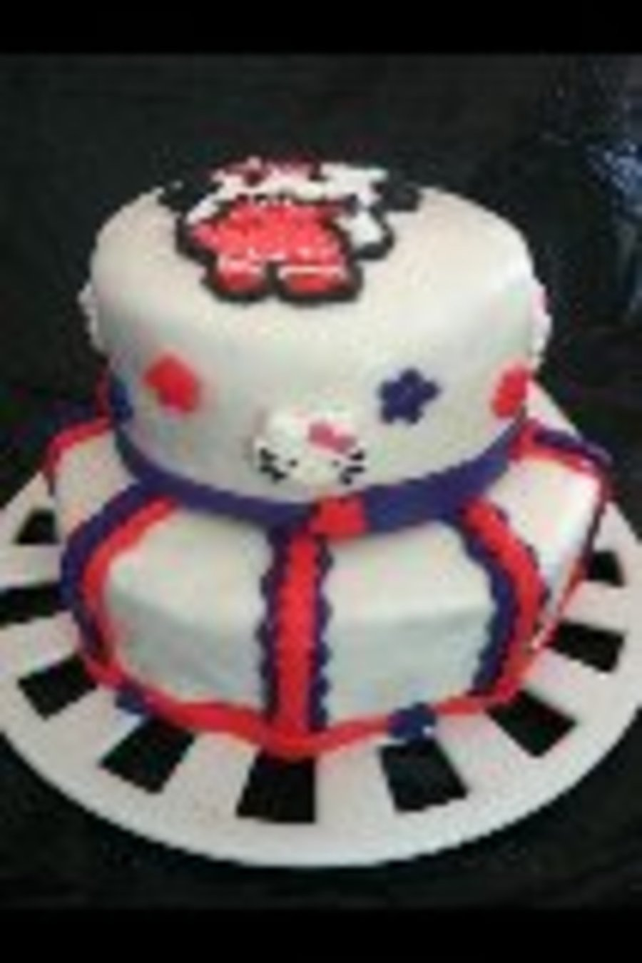 Hello Kitty 2 Tier Birthday Cake Yellow Cake W Buttercream Icing