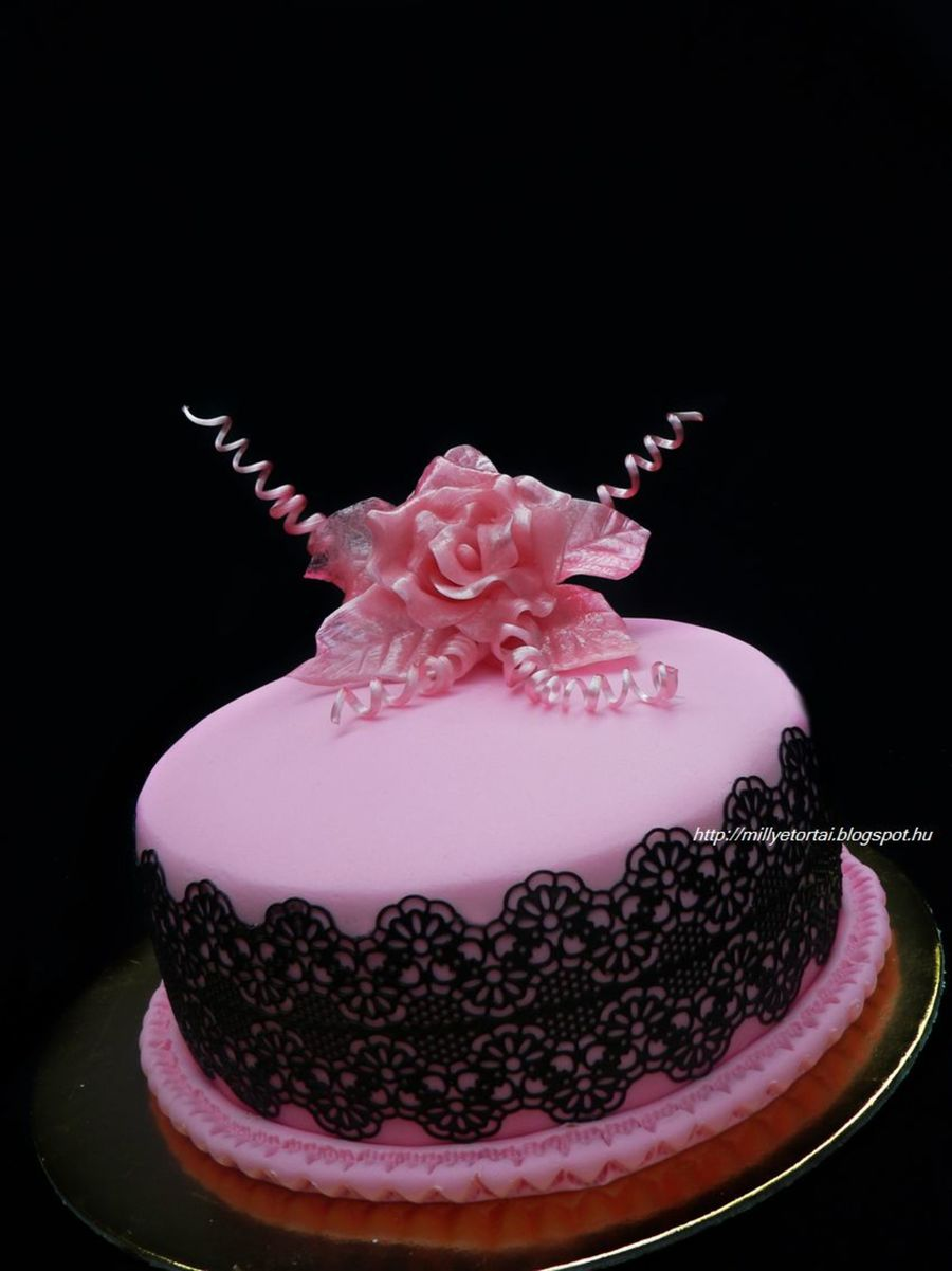 I Made This Pink Cake With Sugarveil And Pulled Sugar Roses on Cake Central